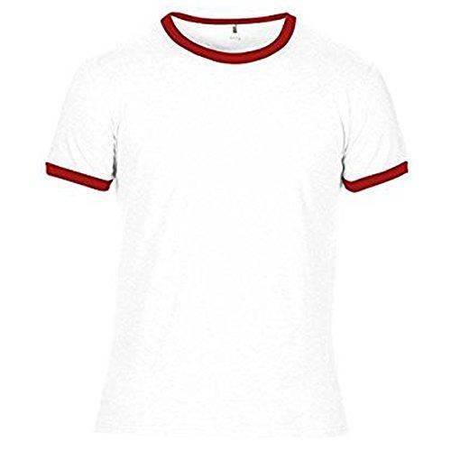 Anvil Herren Modern T-Shirt Weiß / Rot