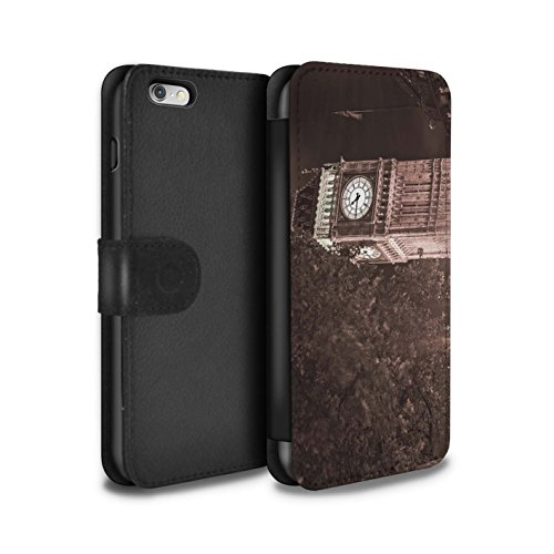 STUFF4 PU-Leder Hülle/Case/Tasche/Cover für Apple iPhone 6S / Tower Bridge Muster / London England Kollektion Big Ben Sépia