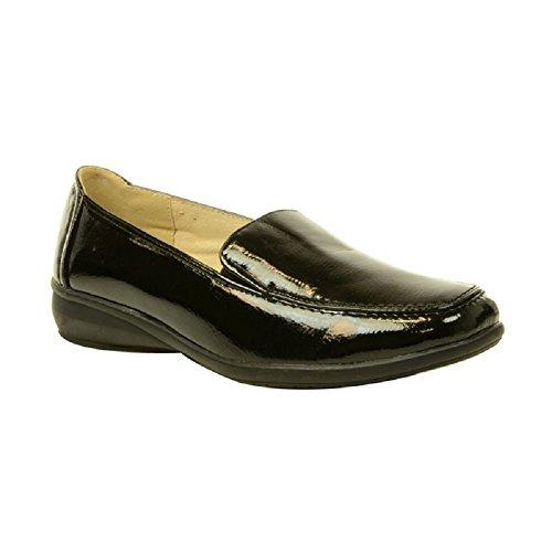 Scarpa da donna Dr Keller Sally, ricurve, con bacco casso, comode, da infilare black patent
