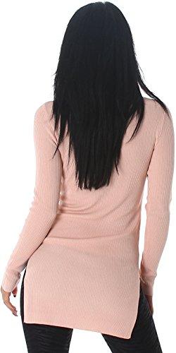 Voyelles Damen Longpulli / Long-Shirt / Sweater / Pullover mit Hüftschlitz in Feinripp (34/36/38) Rosa