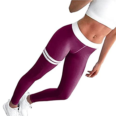 Femmes Sportswear,Tonwalk Maigre Femmes Workout Leggings Pantalon de yoga Fitness/Gym /Running (Medium, Violet)