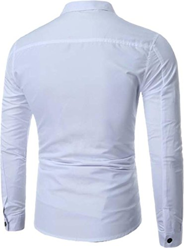 jeansian Herren Freizeit Hemden Shirt Tops Mode Langarmshirts Slim Fit Shirts 84N8 White