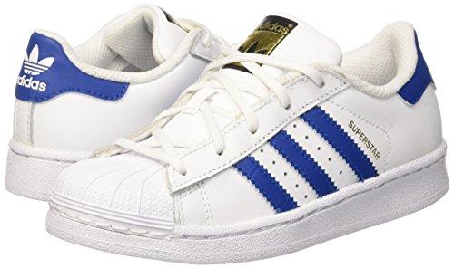 best authentic b365f 963e0 Adidas Superstar Foundatio, Scarpe da Basket Unisex – Bambini, Bianco  Blue Ftwwht, 34 EU