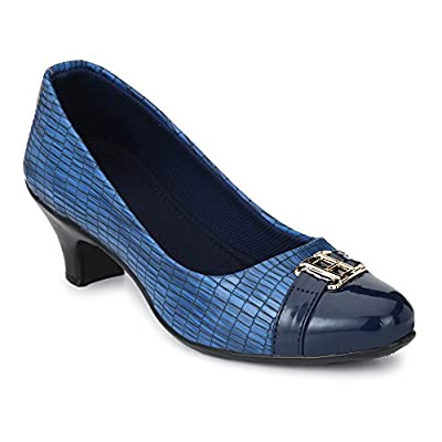 Neso Women's Leather High Cushioned Low Heels Pointed Toe Stiletto Pumps