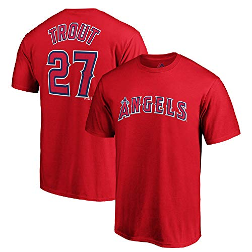 Outerstuff MLB Youth Farbe Performance Team Player Name und Nummer Jersey T-Shirt, Jungen, Mike Trout, Medium 10/12 US -