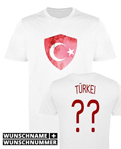 Comedy Shirts - Türkei Trikot - Wappen: Groß - Wunsch - Jungen Trikot - Weiss/Rot Gr. 98-104