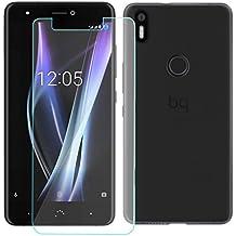OVIphone Funda Gel TPU + Cristal Templado Para BQ AQUARIS X (NO COMPATIBLE CON BQ AQUARIS X5, X5 PLUS, X PRO) (Color Negro)