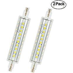 Bombilla LED R7s 118 mm, 10 W LED Flood Spot iluminación luz blanco 4500 K, 1000lm, R7s, intensidad no regulable bombillas de bajo consumo, forma de cilindro, 2 unidades