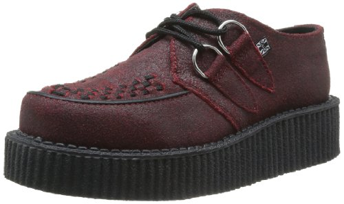 TUK Mondo Lo Creepers, Chaussures basses homme Rouge (Red/Black Cracked Overpaint)