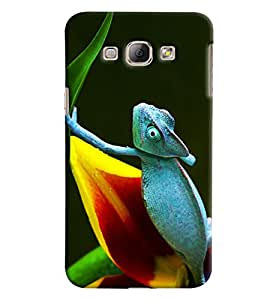 Omnam Lizard In Blue Printed Designer Back Cover Case For Samsung Galaxy A8