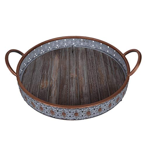 Scrafts Round Metal Serving Tray Plate With HandlesLBH(Inches)- 13X13X2.5, Small, Brown