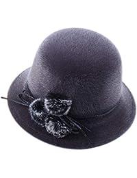 Dosige Mujer Sombrero Hongo Gorra Bombín con Visera Curvada Bowler Hat  Sombrero Boina para Cálido Gorro 89f56262955