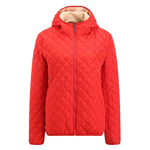 JURTEE Damen 2019 Jacken, Frauen Winter Warme Mantel Pelzkragen Kapuzenjacke Schlank Winter Parka Outwear Mäntel(Medium,Rot)