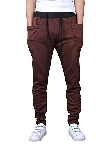 Los Hombres Pantalones De Chándal Deporte Pantalones Pantalones De Chándal  Aptitud Sweatpants De Entrenamiento Café M 0b890b3c3f21