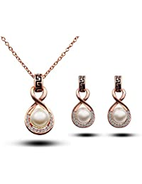 Silver Shoppee Marigold 21K Rose Gold Plated Cubic Zirconia And Pearl Studded Alloy Pendant Set For Girls And...