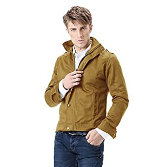Zicac New Men's Spring Autumn Military Slim Fit Jacket Blazer Coat Rider Zip Button Casual Long Sleeve Outwear Long Trench Coat