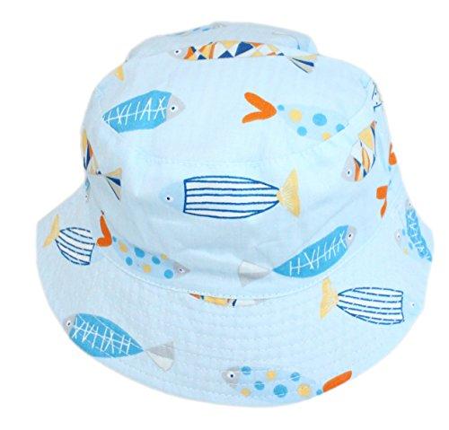 Ruhi Jungen Mädchen Reversible Baumwolle Fisch gestreiften Eimer Sonnenhut Alter 1 bis 6 mit Kinnriemen (blau, L- Alter 1-2 Jahre) (Baumwolle Hut Gestreiften Eimer)