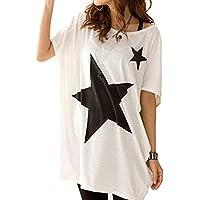Yililay Modelo de Estrella de la Manera Camiseta de Manga Corta Cuello Redondo Flojo Ocasional Tops Simples Ropa cómoda Tela de algodón para Mujeres niñas, Accesorios de Equipaje