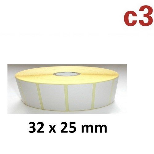 32x25 mm ThermoEtiketten Rolle mit 2.580 Etiketten Zebra ,Citizen,Intermec, TEC, TSC