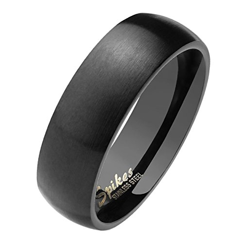 Paula & Fritz matt poliert 6mm breit Edelstahlring Damen-ring Verlobungs-ring Freundschaftsring Herrenring Partnerring Dome schwarz 69 (22) (Ring Größe 6)