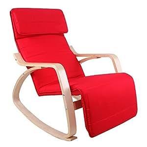 Songmics Poltrona dondolo con Poggia gambe di angolo regolabile a 5 gradi Carico Massimo 150 kg Rosso LYY10R
