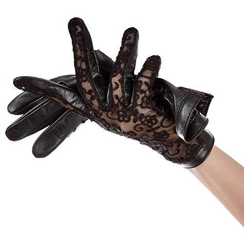 Lederhandschuhe Damen dünne Spitze Herbst Sommer Sonnencreme Handschuhe Fahren sexy Handschuhe Mode Frauen können Handschuhe Damen berühren (Size : XLarge)