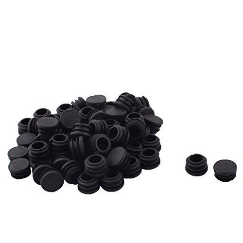 Dealmux Plastique meubles Table Chaise Pieds Base Plate Protecter Tube rond Insert 22 mm de diamètre 70 pcs Noir