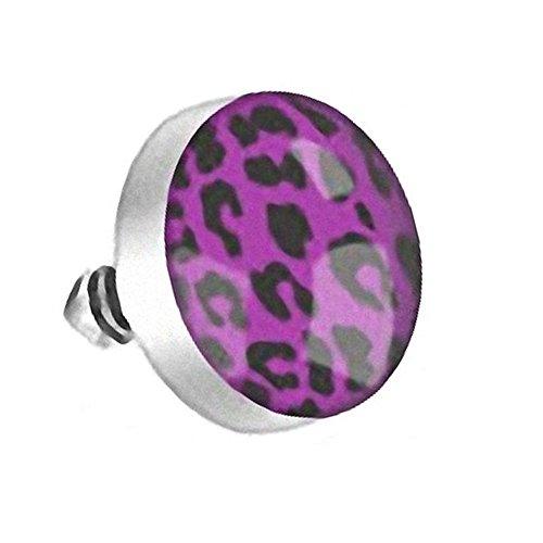 Piercingfaktor Dermal Anchor Piercing Skin Diver Anker Aufsatz Kugel Aufsatzkugel Ball Flach Stecker mit Leo Leopard Tiger Motiv Silber Lila