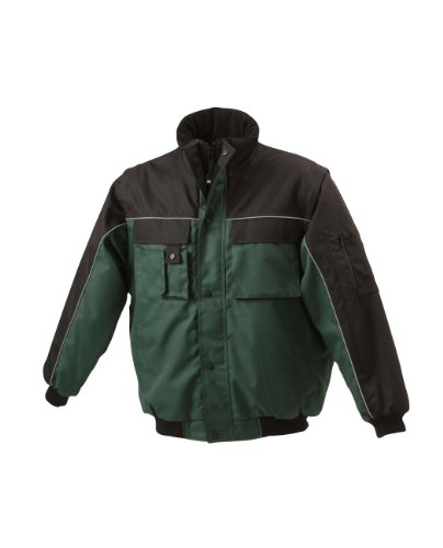 James & Nicholson, Herren, Workwear Jacket mit abnehmbaren Ärmeln dark-green/black