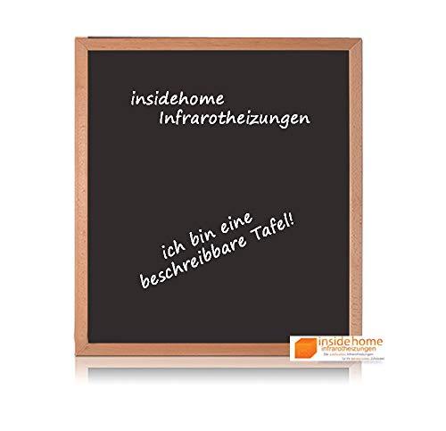 insidehome   Infrarotheizung Tafel CLASSIC   Vollholz - Rahmen Buche 30mm   hochwertige Glasheizung sandgestrahlt   deutscher Hersteller   400 Watt (70x60x2,5 cm)