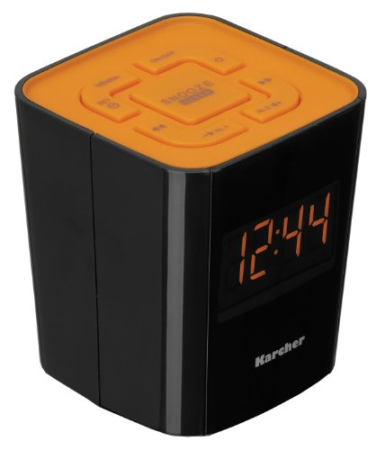 Karcher UR 1020-O Radiowecker (PLL-FM-Radio, Dual-Alarm) schwarz/orange