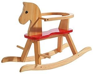 Caballo de balancín roba, juguete balancin acabado en madera maciza natural y laca roja, caballo balancin para niños pequeños con anillo protector desmontable.