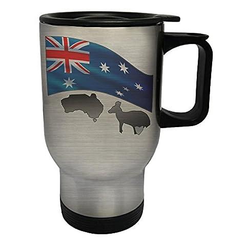 Nouvelle Journée Australienne Avec Drapeau Kangourou Tasse de voyage thermique en acier inoxydable 14oz 400ml h606ts