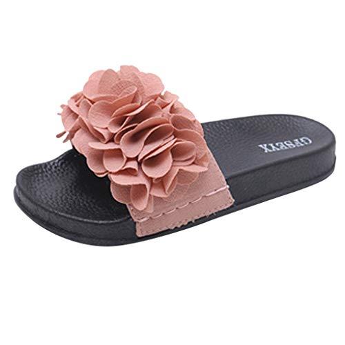Zapatillas de Mujer Zapatillas de Flores de Verano Zapatillas de Playa Casuales SEXYYE Zapatilla de pie de una Pieza de Moda Flor/Pink,35