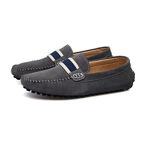 Baymate Homme Confort Mocassines Chaussures de Conduite Slip-on Antidérapant Chaussures Bateau Gris