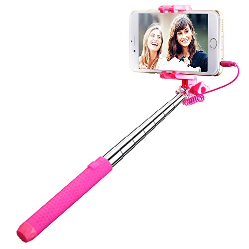 Mpow Mini Portable Foldable Extendable Monopod Selfie Stick with 3.5 mm Wire - Pink