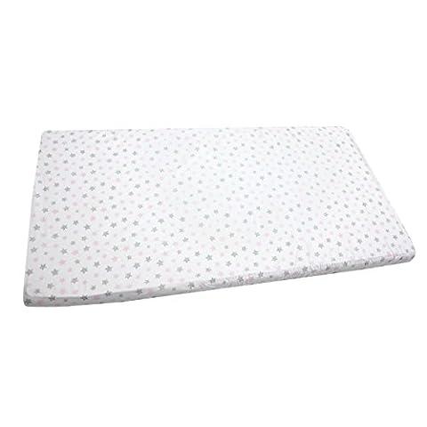 Baby Spannbettlaken 90x40, 70x140, 90x200 Bettlaken mit Gummizug 100% Baumwolle Kinder Spannbetttuch, Farbe: Tupfen-Sterne Rosa / Grau, Größe: 90 x 200
