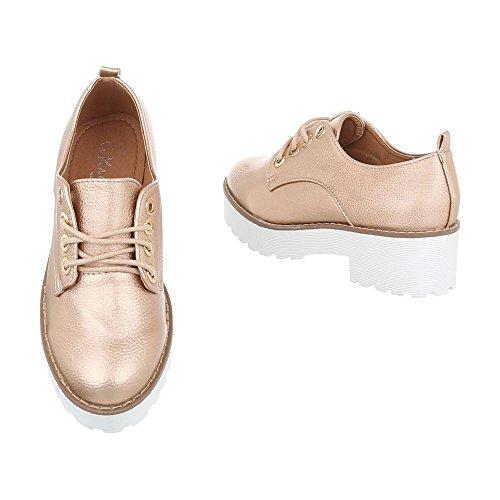 Chaussures femme Mocassins Bloc Chaussures à lanière Ital-Design Rose or