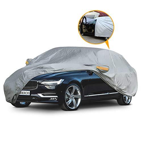 Yibeico telo copriauto da esterno con una cerniera, auto impermeabile pieghevole anti uv anti pioggia sole (485 * 190 * 150cm)