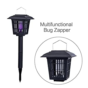 YIERTOWN Solar-Powered Outdoor Insect Killer / Bug Zapper / Mosquito Killer- Hang or Stick in the Ground - Dual Modes - Bug Zapper & Garden Light Function