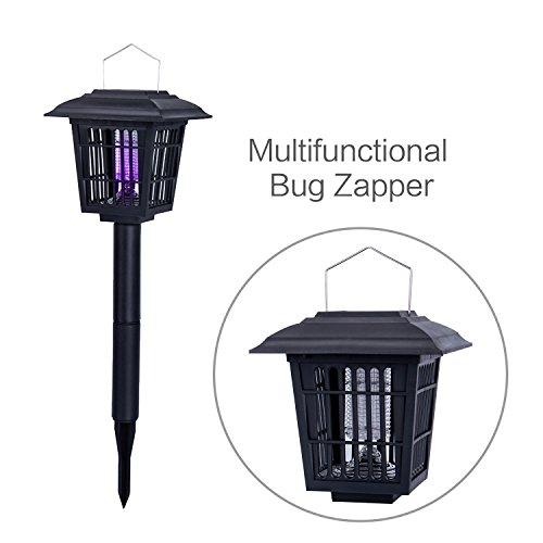 Yiertown solaire Extérieure insectes/Bug Zapper/Mosquito Killer- suspendre ou bâton dans le sol–Deux modes–Bug Zapper et fonction d'éclairage de jardin