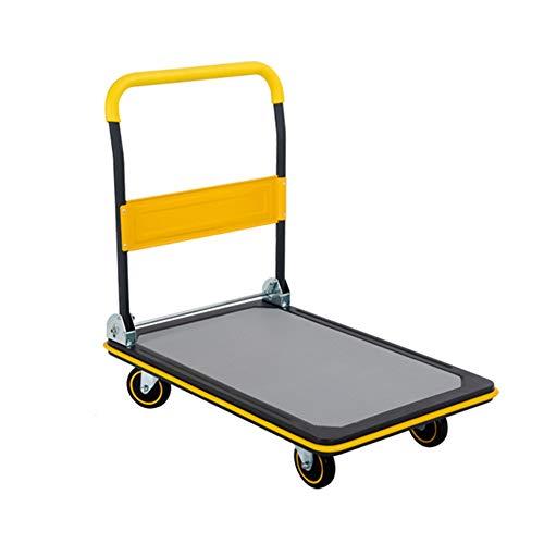 XMGJ Einkaufstrolleys Portable cart ~ Handwagen Stahl Faltbare 4 Rounds Flat Mute Laden 300 kg Lager gelb, 2 Größen Einkaufskörbe & -Taschen (größe : 72x48x83cm)