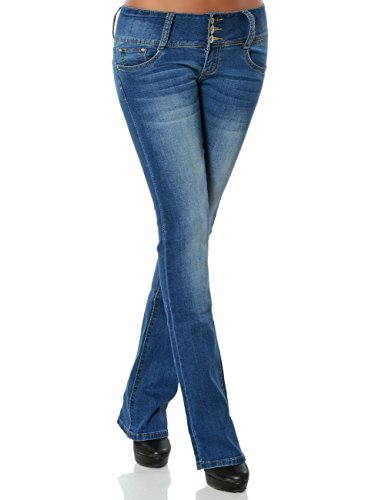 Damen Boot-Cut Jeans Jeanshose Schlaghose No 15840, Farbe:Blau, Größe:L / 40 (Jean Hose Ausgestellte)