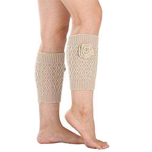 Vovotrade ❤❤ Stricken Socken Beinwärmer Stiefelabdeckung Halten Sie warme Socken (Beige) (Stricken Beige Socken)