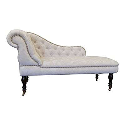 Traditional Chaise Longue in a Sumptuous Damask Fabric with Brassed Castors