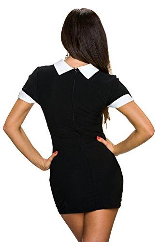 Fashion - Robe - Cocktail - Uni - Manches Courtes - Femme Noir - Noir