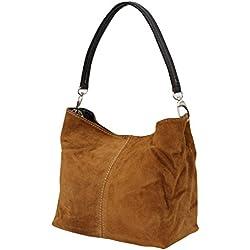 AMBRA–Bolso de cuero para mujer, WL807., color Marrón, talla M