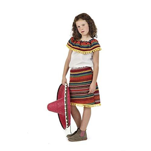 Mexikanerin Kostüm Kinder Mexikanisches Kleid Mädchen zum Karneval - 7/9 Jahre (Globetrotter Kostüm)