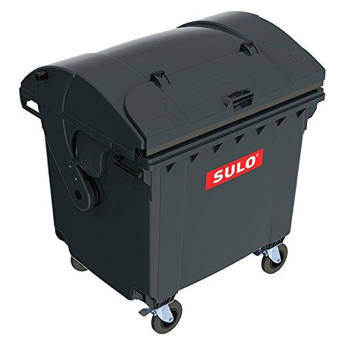 *SSI Schäfer Kunststoff-Großmüllbehälter, nach DIN EN 840 – Volumen 1100 l, Schiebedeckel, Kindersicherung – anthrazit – Abfalltonne Müllcontainer Müllkübel Müllsammler Mülltonne*