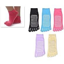 DSstyles 5 pares de un solo tamaño de varios colores fitness Yoga zapatillas calcetines Toes calcetines Full Toe No-Slip Pilates yoga calcetines